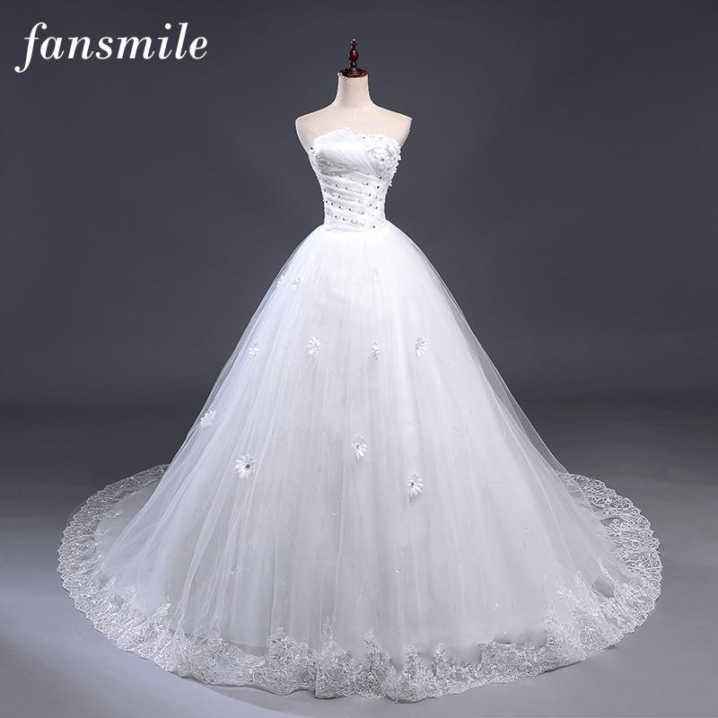 Fansmile Sexy Off the Shoulder Train Wedding Dresse 2019 Vintage Lace Up Plus Size Ball Wedding