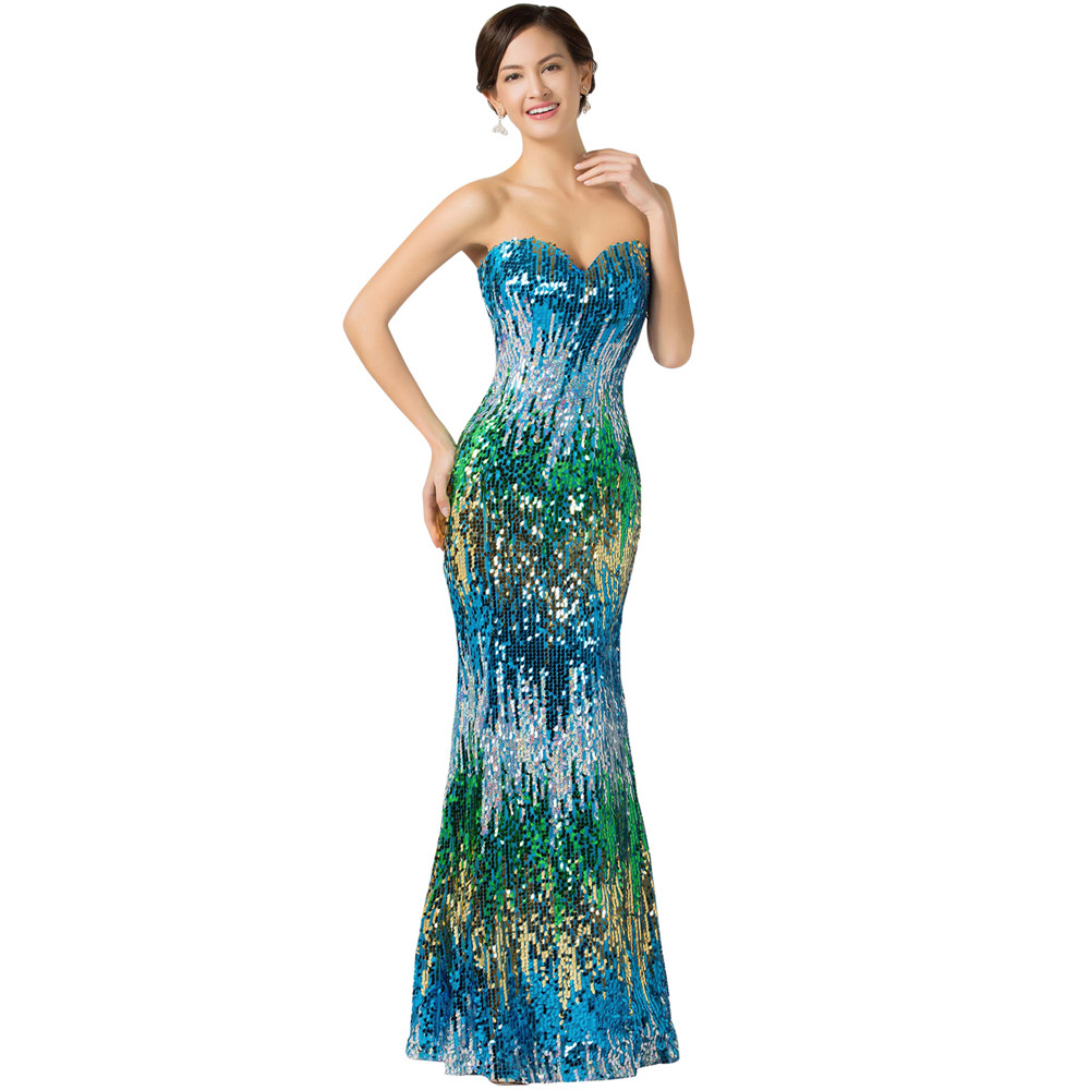 Sweetheart Colorful Sequins Lace Evening Dress 1