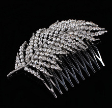 2017 New Arrival Art Deco Silver Clear Rhinestones Crystals Pearls Leaves Wedding Hair Comb Bridal Hair Accessories Hair Jewelry