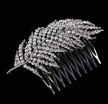 Stunning Art Deco Silver Clear Rhinestones Crystals Pearls Leaves Wedding Hair Comb Bridal Hair Accessories Hair