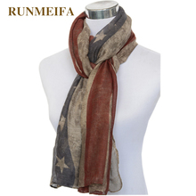 Classic fashion American flag Scarves for ladies retro voile