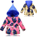 Winter Girls Hooded Coat Printed Flowers Zipper Winter Coat For Girls Kids Padded Jacket Casual Children's Outerwear 3-6Years