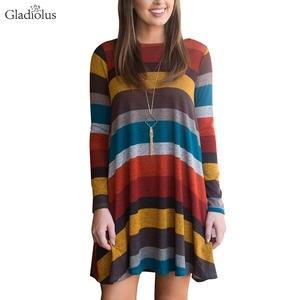 Gladiolus 2018 Autumn Winter Women Dress O-Neck Long Sleeve Striped Pocket  Loose Casual Midi Vintage Dress Woman Party Dresses 3af93aca5a87