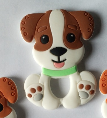 Let's make Cute Cartoon Dog Food Grade Silicone Teether Baby Teething Necklace Accessories Pendants Baby Teether happy baby teether keys красный