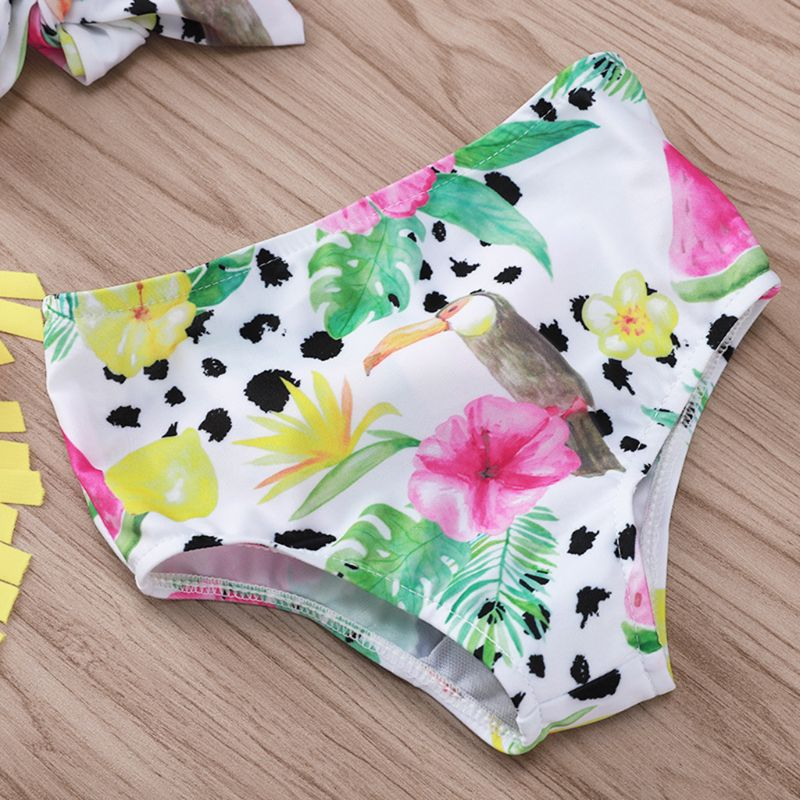 3 Pcs set Children Kids Cute Swimsuit Tassel Sling Fruit Print Seaside Swimming Pool Clothes Suit Swimsuits in Clothing Sets from Mother Kids