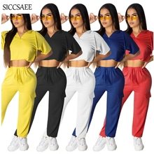 Two Piece Set Palazzo Pants Sweat Suit Hoodies Tops Tracksuit For Women Loose Casual Outfits Moleton Feminino Activewear 2019