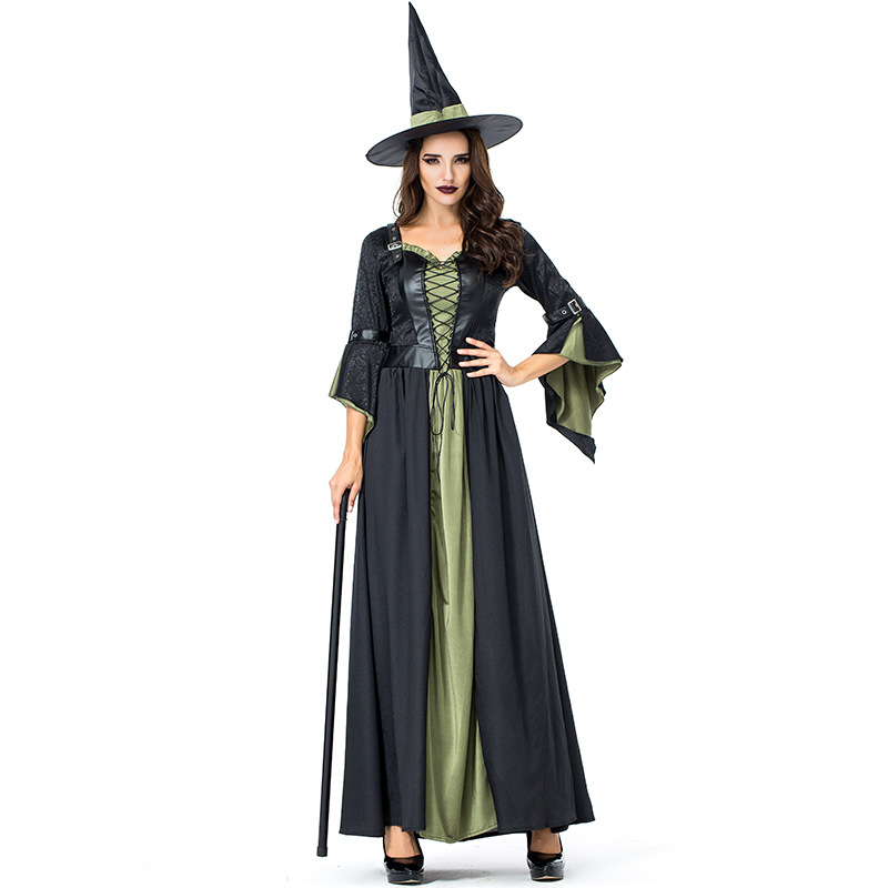 Black Night Wandering Soul Ghost Witch Suit Dress Costumes with Hat For Woman Girl Halloween Party Cosplay