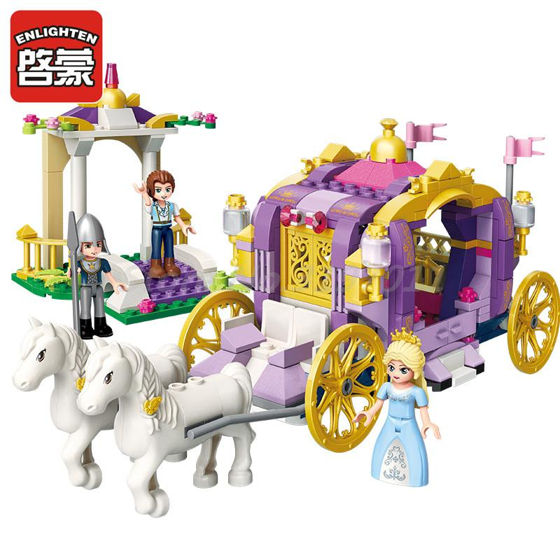 Enlighten 2605 Building Block Sets Girls Friends Princess Leah Violet Carriage 3 Figures Educational Bricks Toy For Girl Gifts enlighten building block war of glory castle knights ent witchclaw 3 figures 131pcs educational bricks toy boy gift