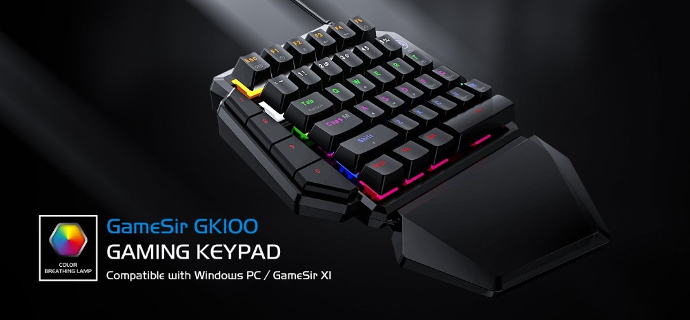 Mini Mechanical Blue Switches PC Gaming Keypad for FPS Games, One-hand Keyboard with LED light - GK100 6