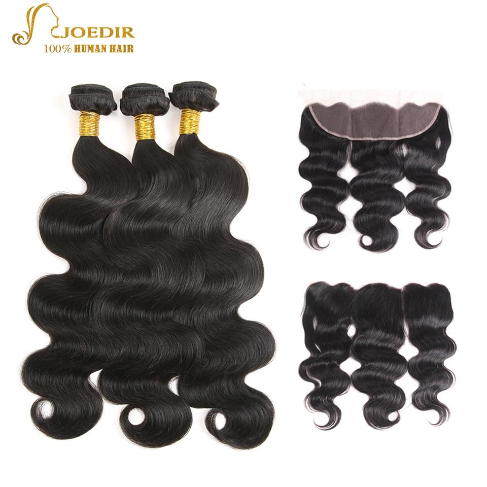 JOEDIR Hair 13x4 Ear to Ear Lace Frontal Closure With Bundles 3pcs - Equipos para peluquerías