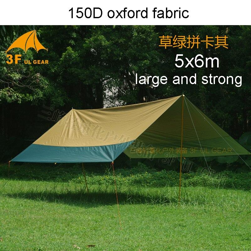 3F UL Gear 5x6M Versatile Flysheet Windproof UV-proof Waterproof 150D Oxford Anti-tear Tarp Beach Canopy Hook-strengthen Tent esspero canopy