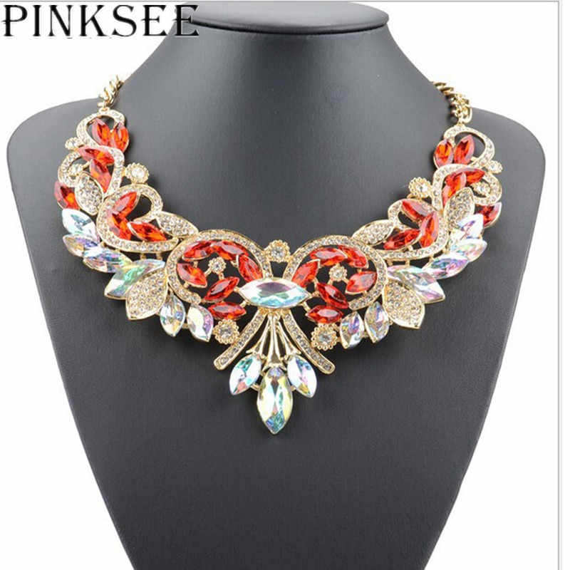 PINKSEE Fashion Big Crystal Rhinestone Bib Pendant Necklaces For Women Statement Choker Chain Necklace Collar Jewelry Gifts