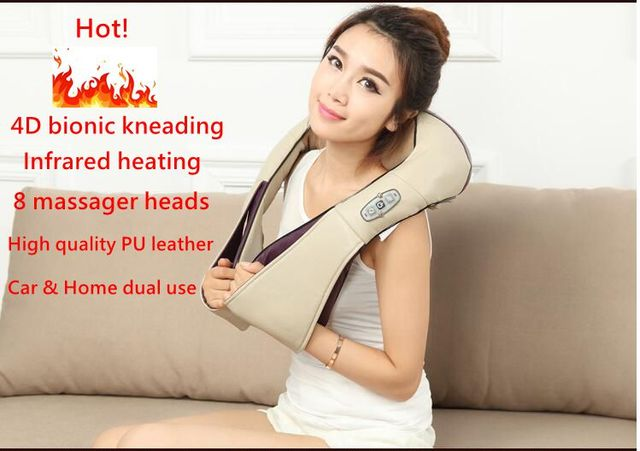 Multifunction health care body massager acupuncture kneading heating neck shoulder massage pillow car home anti cellulite