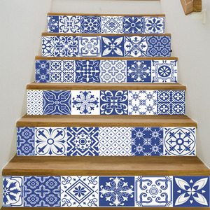 Image 5 - 17 デザインモザイクタイル壁階段ステッカー自己接着防水 Pvc ウォールステッカーキッチンセラミックステッカー家の装飾