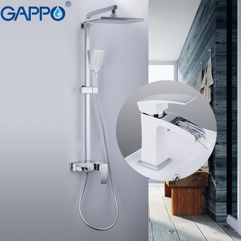 GAPPO Sanitary Ware Suite shower basin taps chrome and white wall mounted shower sets deck mounted basin sink faucet bras