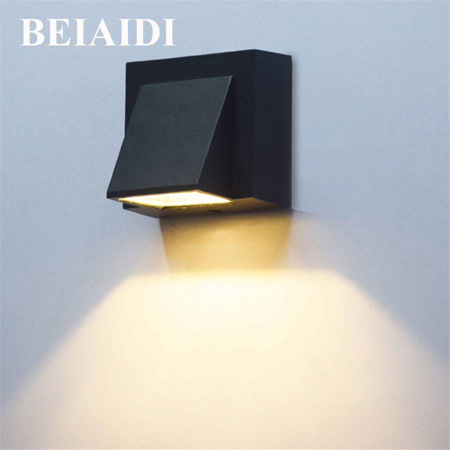 BEIAIDI 5W Waterproof Led Wall Lamp Outdoor Building Exterior Gate Balcony Garden Wall Sconce Light Corridor Villa Porch Light waterproof cube led wall light 10w led wall sconce lamp led porch lights outdoor sconces exterior gate balcony garden yard