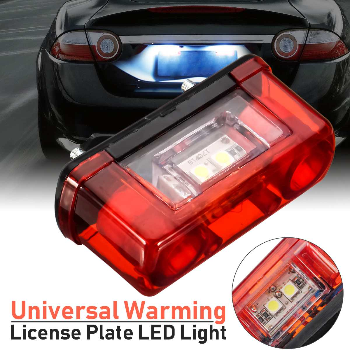 New Type 12v 24v Car Led License Number Plate Light Lamp Universal Led License Plate Car Truck Trailer Lorry Rear Tail Light