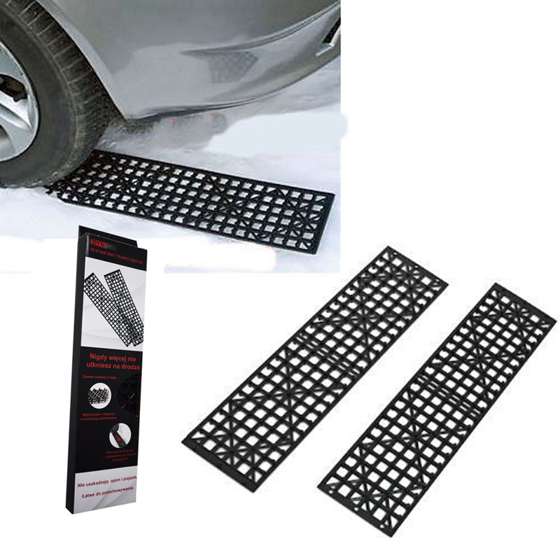 One Pair Red Black Car Sand Snow Winter Driving Tire Anti Skid Board Emergency Traction Board