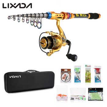 Lixada Portable Lure Rod Set Spinning Rod Fishing Reel Combos Full Kit 2.1/2.4/2.7/3M Fishing Rod Pole Reel Line Lures Hooks Bag - DISCOUNT ITEM  36% OFF Sports & Entertainment
