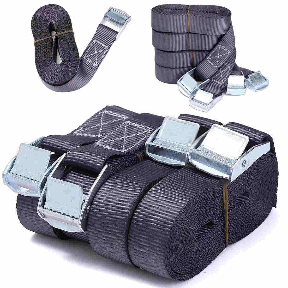 4pcs Cargo Tie Mayitr Porable Heavy Duty Tie Down Cargo Strap Luggage Lashing Strong Ratchet Belt With Metal Buckle 2.5x500cm  цены