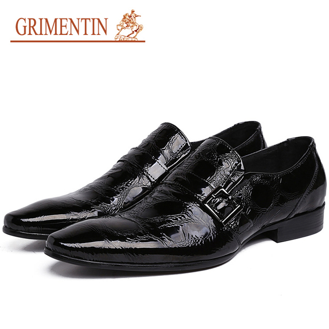 Men's Dress Shoes Pointed Toe Black  Mens Patent Leather Dress Shoes Slip Ons Mans Footwear Wedding Dress Italian Leather Shoes