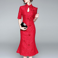 SHENG COCO Red Lace Long Cheongsam Dress Oriental Chipao Qipao Butterfly Flower Pearl Woman Half Sleeve Chinese Collar White