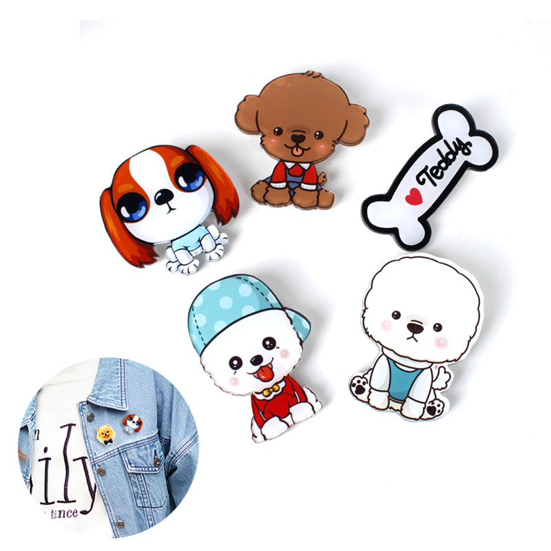 Hot Cute Cartoon 1pc Animal Brooches Husky Pet Acrylic Collar Badge Fashion Funny Charm Gift