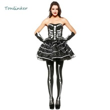 Halloween Adult Women Sexy Skull Short Dress Costume Fantasia Cosplay Queen Terror Theme Party Clothing