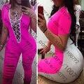 Caliente nueva verano de las mujeres guardapolvos atractivos de las señoras de la celebridad fotografica catsuit de encaje hasta vestidos del vendaje
