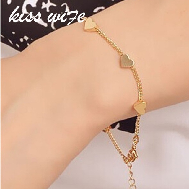 2016 New Hot Fashion Accessories Simple Cute Gold Heart Bracelet
