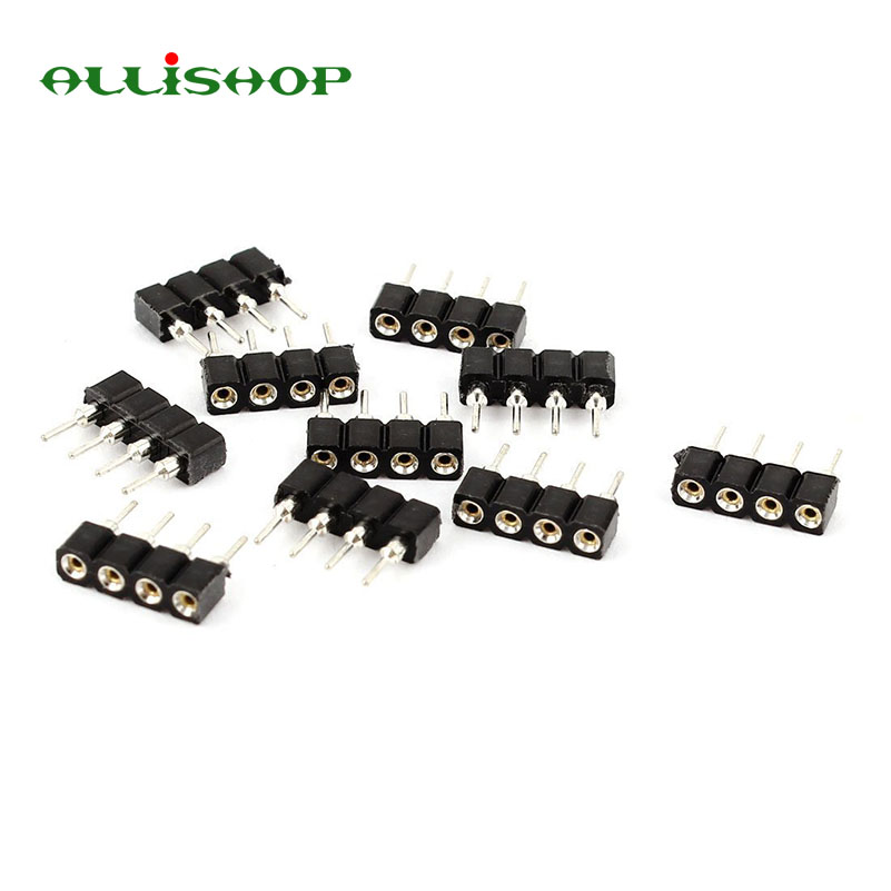 ALLISHOP 10 pcs 4 pin 10mm female to Male Connector connectors for 3528 5050 SMD RGB Led Strip Lighting 1pcs rgb connector 4pin 1 to 2 3 4 cable rgb led flexible strip female connector for smd 3528 5050 rgb strip light