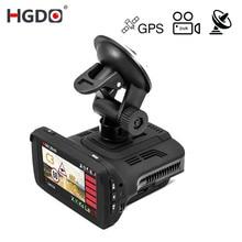 HGDO Ambarella A7 Car DVR Radar Detector GPS 3 in 1 HD 1296P 170 Degree Angle Dash Cam Russian Language Video Recorder