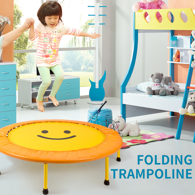 60 inch foldable mini round kids trampoline children height spring bounce bed outdoor indoor exercise home toys jumping bed hot