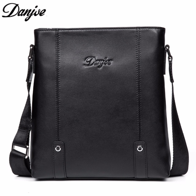 DANJUE Trendy Genuine Leather Business Bag Handbag Men Black Zip Sling Man Crossbody  Bag Messenger Casual Shoulder Bag 8871-4