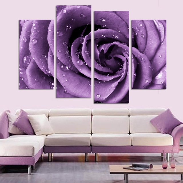 4 Panels Canvas Print Purple Rose Painting On Wall Art Picture Home Decor Fou036