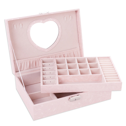 2020 New Design Pu Leather Jewelry Box Double-layer Wooden Frame Princess Jewelry Storage Box Cosmetic Box Highly  Recommend