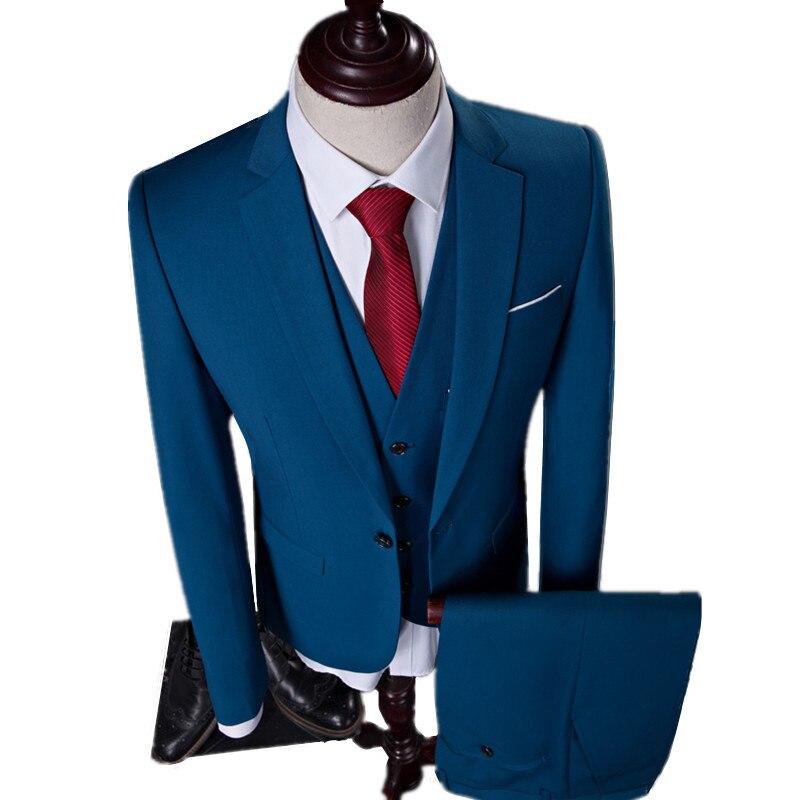 חדש גברים פנאי יחיד חזה חליפות 3 pieces סטים/טהורות צבע עסקי חליפת מעיל טרייל מעיל + אפוד + מכנסיים