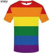 KYKU Rainbow T-shirt Men Gay Tshirts Casual Colorful Tshirt Printed Harajuku Shirt Print Gothic Anime Clothes Short Sleeve