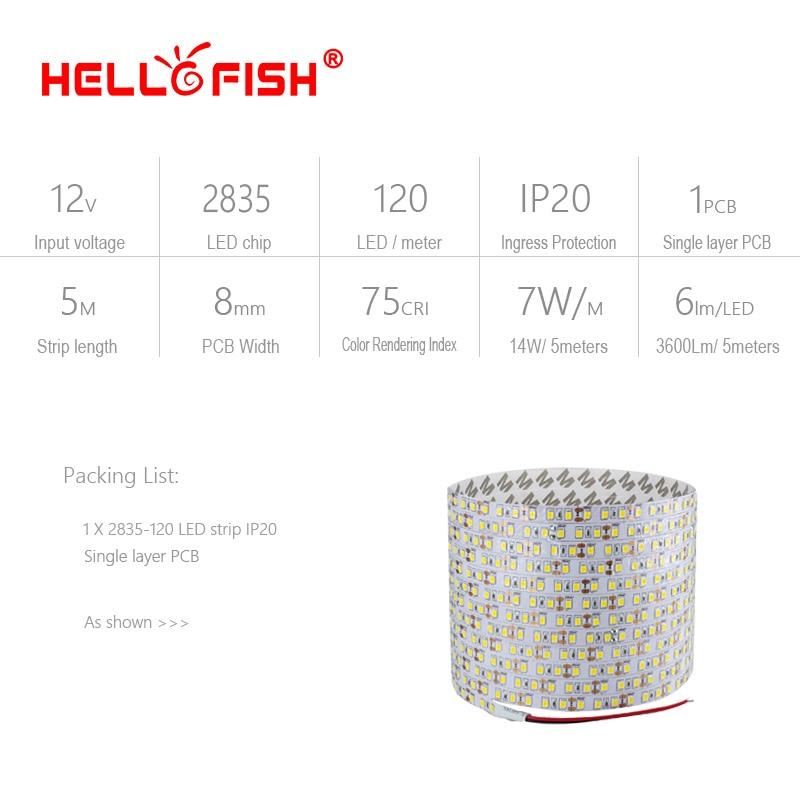5m 2835 LEDストリップ単層PCB 600ライト2835 SMD - LED照明 - 写真 2