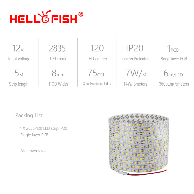 5m 2835 LED Strip Single Layer PCB 600 Ljus 2835 SMD 12V Flexibel LED - LED-belysning - Foto 2