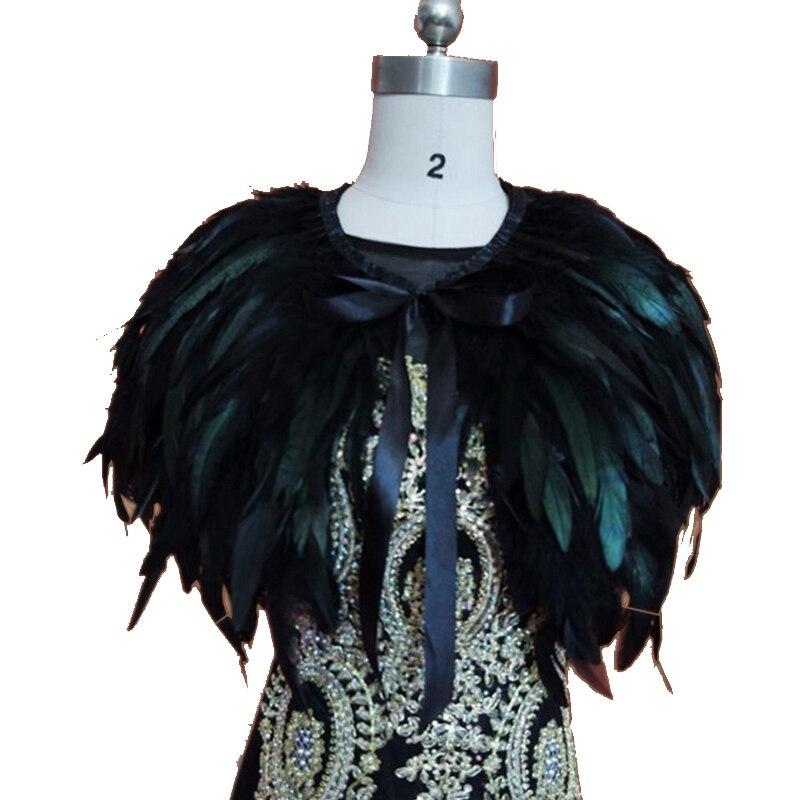SHAMAI Black Fur Wedding Shrug Cape Bolero Wrap Bridal Shawl Custom made size 1
