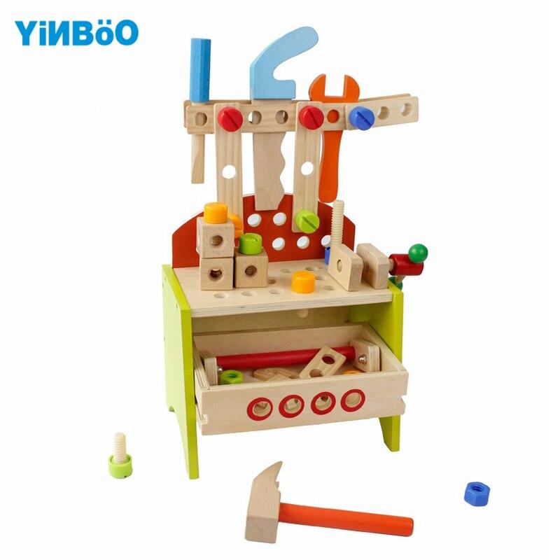 Детские игрушки деревянные развивающие многофункциональный ящик для инструментов для Мальчикам гигиена комплект подарок для детей