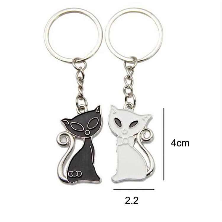 ใหม่สีดำและสีขาวแมวคู่พวงกุญแจหัวใจแหวนเงินสีรักพวงกุญแจของที่ระลึกวันวาเลนไทน์ของขวัญ 17283