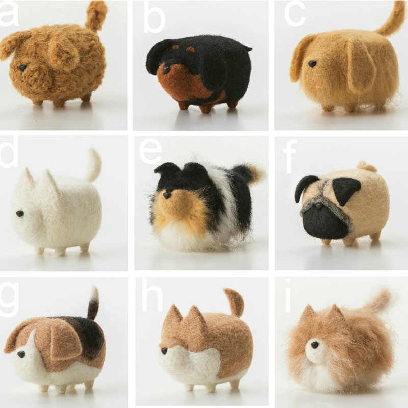 1SET Animals dog puppy Handmade Felt Craft DIY Poked Set Handcraft Wool Felt DIY Package Felting wool Needle Material Pack