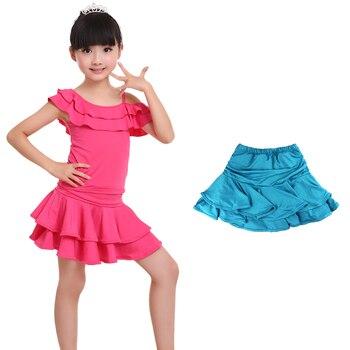 Wholesale Cute Spandex Latin Dance Skirt Girls Kids Children Ballroom Dancing Skirt Inside With Shorts Mini Skirt 5