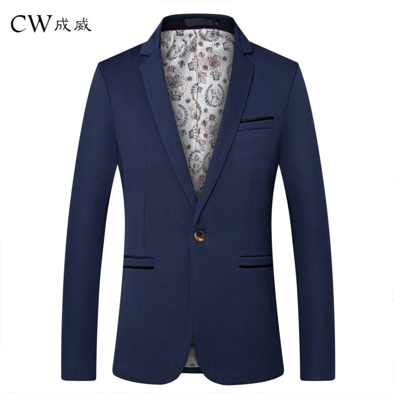 CW Brand Clothing Blazer Men 2019 One Button Men Blazer Slim Fit Costume Homme Suit Jacket Masculine Blazer M-5XL Tuxedo Dress