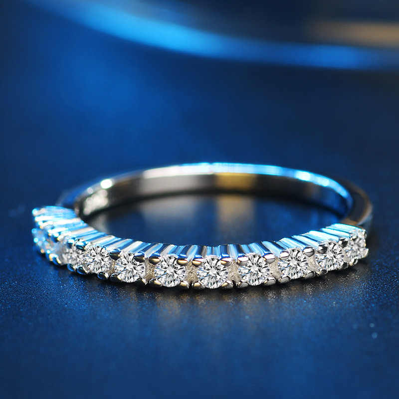 2019 Classic 100% 925 เงินผู้หญิงแหวนเรียบง่าย AAA + Cubic Zircon งานแต่งงานแหวนหมั้นแหวนแฟชั่นเครื่องประดับพร้อมแสตมป์