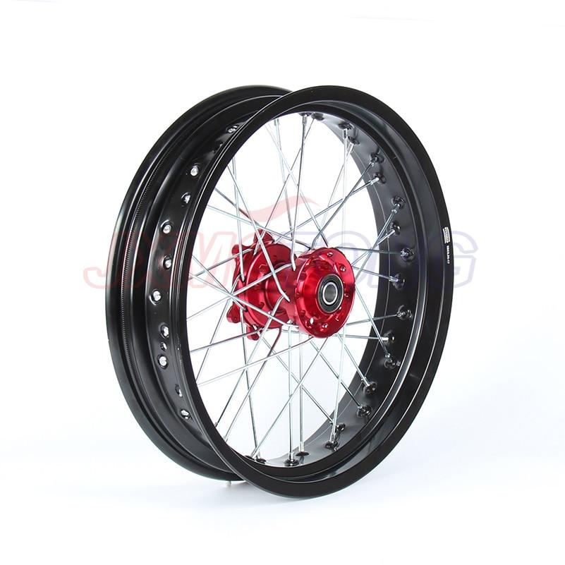 3,5*17 супермото спереди колесные диски Набор для HONDA CRF250R 2004 2013 CRF450R 2002 2012 2011 2010 2009 2008 2007 2006 2005 Красный концентратора