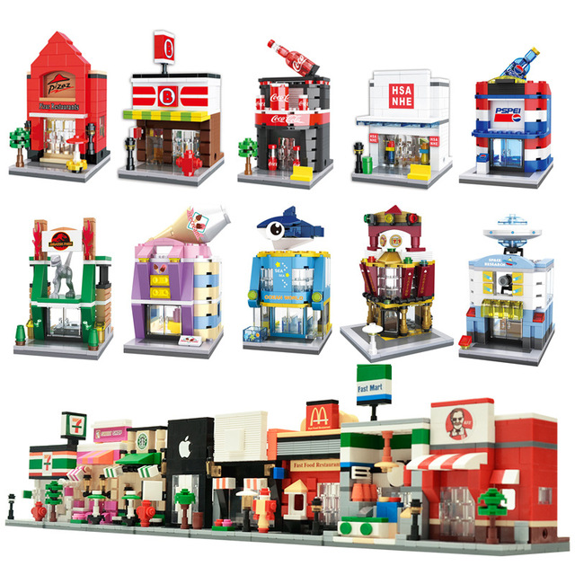 City Mini Street 3D Model Retail Store Shop KFCE Cafe Apple Architecture Classic Building Blocks Toys Gifts Compatible Legoings