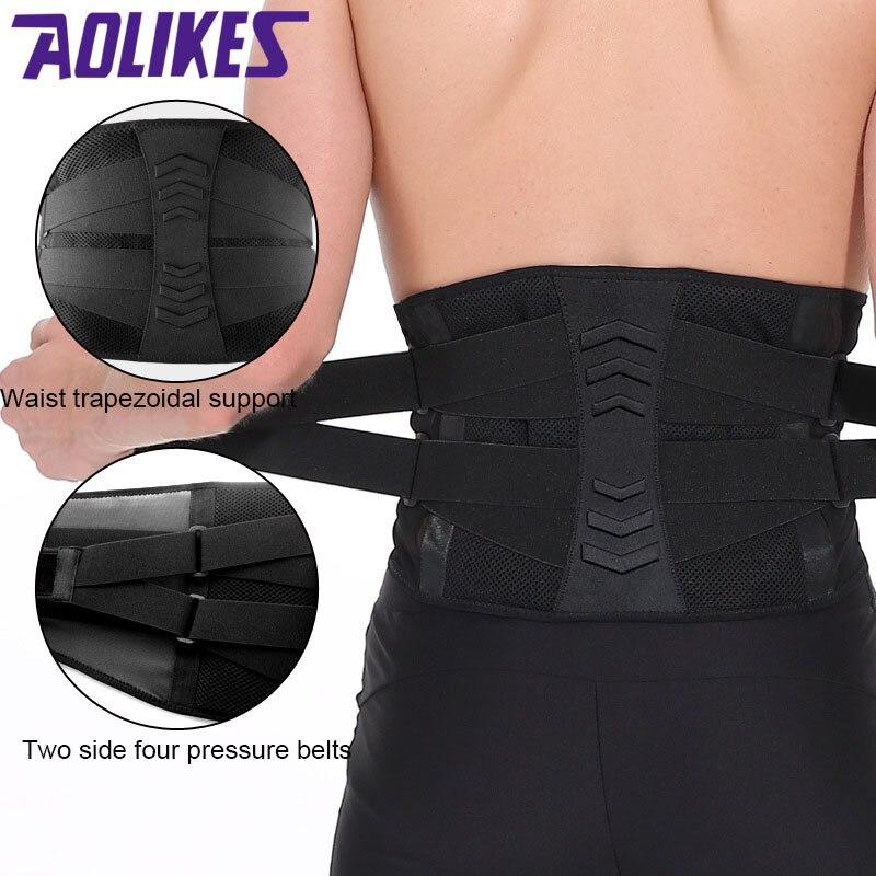 AOLIKES Men Women Adjustable Elastic Waist Support Belt Lumbar Back Support Exercise Belt Brace Weightlifting Belt Waist Trainer